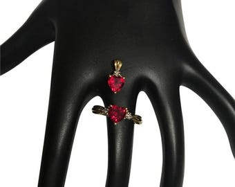 10k garnet charm and ring
