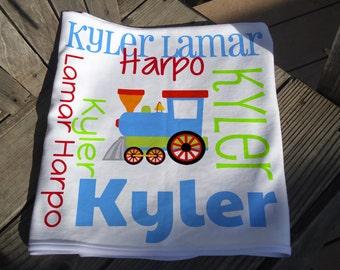 Personalized Train Baby Blanket - Train Receiving Blanket - Custom Name Baby Blanket - Newborn Swaddling Blanket - Train Baby Photo Prop