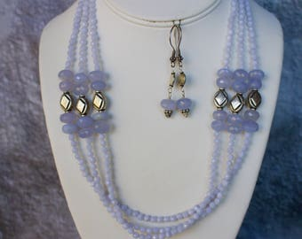 Stunning Handmade Genuine Lavender Chalcedony with Sterling Silver Necklace and Matching Earrings.