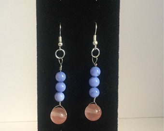 Pink and blue glass earrings, drop earrings, baby blue and milky pink earrings, silver earrings, minimal, gift for her, Mother's Day gift