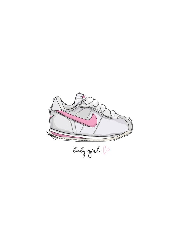 new arrivals 596a4 d58b2 ... shoes 463df 9891c new style nike cortez baby girl a5 art print for new  baby christening 5954b cef5b ...