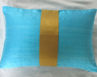 turquoise blue silk long pillow with golden yellow center band. Dupioni silk luxury cushion cover. Lumpur pillows  custom made 24 x24 inches