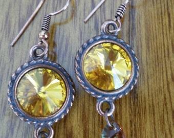 Amber Swarovski Crystal Copper Earrings