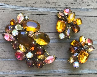 Kramer jewelry - amber, pink, root beer rhinestone brooch & cluster clip earrings, 1960s