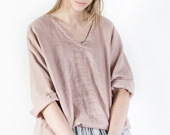 Washed linen tunic / Linen tunic dress in dusty pink / Oversized linen blouse / loose linen tunica / V neck linen clothing