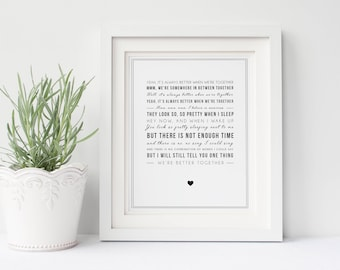 Jack Johnson 'Better Together' Song Lyrics, Typographic Wall Art - Song Lyric Print - Music Gift - Boyfriend, valentines gift idea