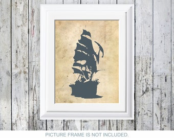 Sailboat Nautical Poster Print Sailing vessel Print Coastal Wall Art Beach House Decor Bathroom Art Wall Décor