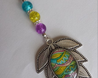 "Pendant 1 ""cabochon 18x25mm glass beads and glass""-4x10.5cm"