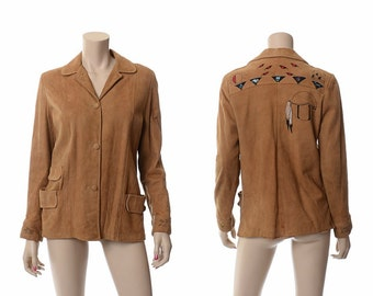 Vintage Hand Painted Buckskin Leather Jacket 40s 50s 1940s 1950s Native Indian Symbols Suede Coat Hippie Boho Rockabilly Western Jacket S/M
