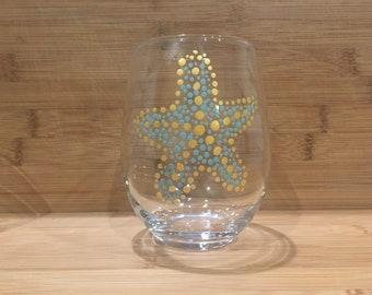 2 Starfish hand painted stemless wine glasses