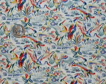 Lotus Rainbow Asian Crane - Fabric By The Half Yard 18 inches x 42 inches - H
