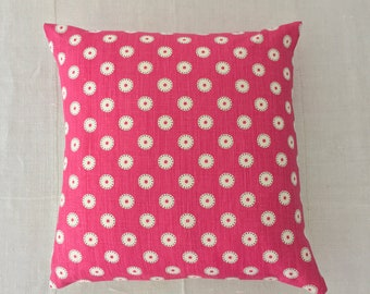 Vintage Hungarian Hand Spun Linen Backed Cushion Pillow COVER ONLY Pink Vanessa Arbuthnott Design Pretty Maids for Rustic Interior Homeware