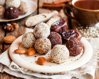 Almond Date Energy Protein Balls (Natural, Gluten-Free, Vegan, Paleo, Raw, Organic)