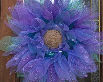 Beautiful Spring Flower Mesh Wreath