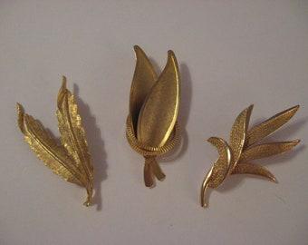 Three Vintage 1970's Gold Tone Leaf Brooches