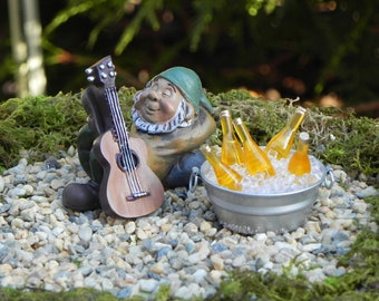 Miniature Gnome Guitar Tub of Beer, faux ice, miniature garden sleeping gnome, gnome garden accessories, fairy garden accessory