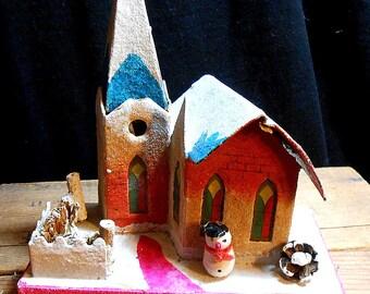 Vintage Japan Church for Village Houses - Putz