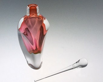 Hand Blown Glass Perfume Bottle - Peach/Pink Overlay  by Jonathan Winfisky