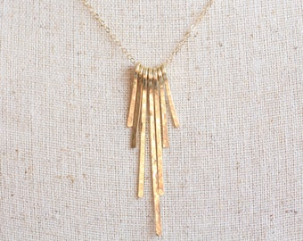 Brass fringe necklace, sunburst necklace, 14k gold filled chain, long necklace, statement, delicate, modern, gold sticks, hammered jewelry