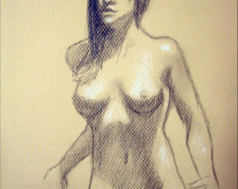 "Female Figure Drawing - Standing Nude Female Figure - original drawing, graphite and pastel on toned paper, 8x12 ""Brynn 2"""