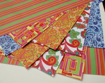 """Summer Variety Pack-10 sheets of Wrapping Paper, 19x27"""", 2 each of 5 designs using vegetable inks on recycled paper 1.50 a sheet"""