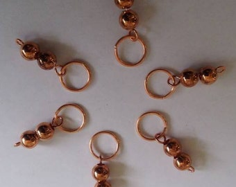Copper Stitch Markers - Set of 6