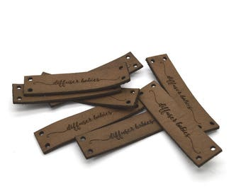 Laser engraved labels 0.5x2 inches - made from real leather - Leather labels, Personalized leather labels, Leather tags , Custom Labels