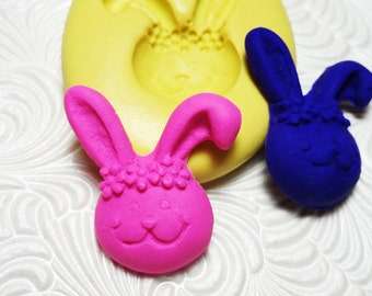Girl Bunny Mold Flexible Silicone Rubber Push Mold for Resin Wax FIMO Fondant Royal Icing Chocolate Polymer Clay Metal Clay