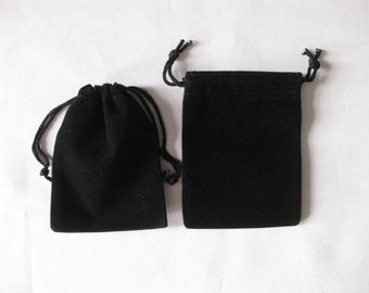 "25 Black 2""x 2.5"" Jewelry Pouches Velvet Gift Bags Packaging Supplies"