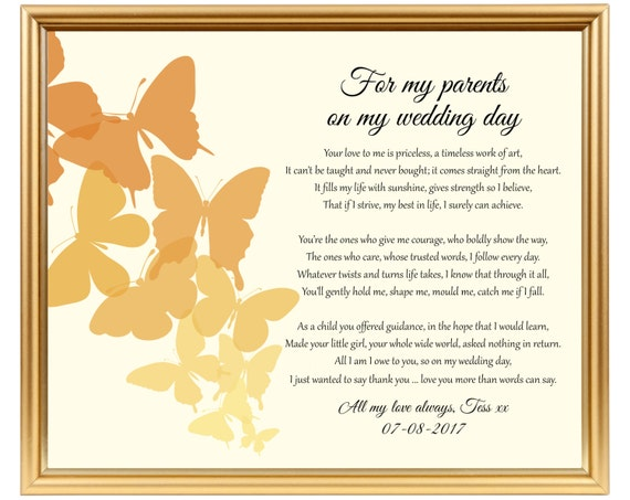Gifts For Dad Wedding Day: Wedding Gift Poem For Parents From Bride To Dad From Bride