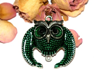 Pendant OWL connector in silver and enamelled 47 mm approx