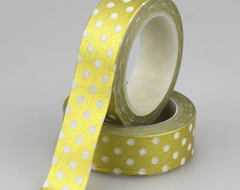 Matte Gold with White Polka Dots Washi Tape (2C-46)