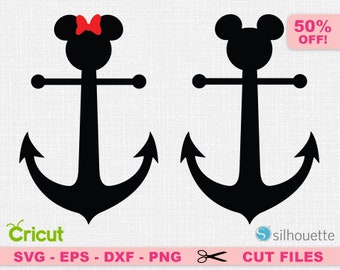 Mickey svg, Minnie svg, Anchor svg, Anchor cricut, Mickey anchor svg, Disney SVG, Disney Cricut, Disneyland Svg, Disneyland cricut