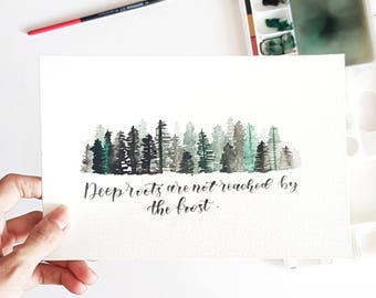 Handmade Watercolor Pine Forest with quote, Pine tree forest, Watercolor painting, Misty forest, Forest painting