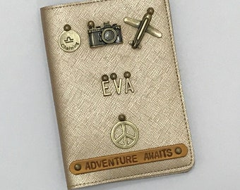 Customised Personal Gloss/Metallic Passport Cover with Name Charms and Quotes