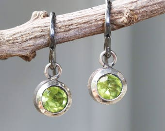 Earrings,round faceted peridot in silver bezel setting with oxidized sterling silver hooks style