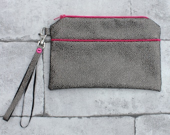 Clutch gray faux leather trimmed with pink, with strap