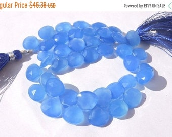 25% OFF Summer Sale 40 Pcs AAA Genuine Royal Blue Chalcedony Faceted Heart Shaped Briolette Size 10 - 11 MM