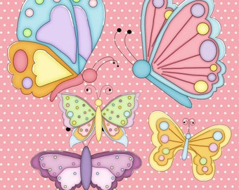 Butterflies Colored Clipart and Digi Stamps