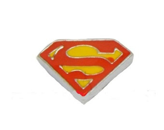 Superman Floating Locket Charm Living Memory Lockets Jewelry Making Supplies - 61T