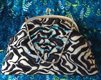 Gift for her: Beautiful grey and black beaded evening purse with snap frame