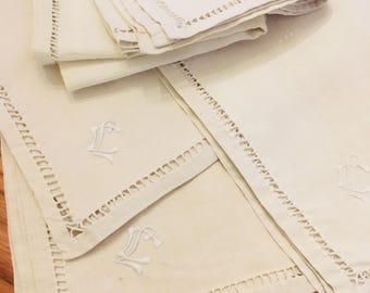 French Linen 6 Tea Towels Initials CL