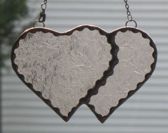 Stained Glass Double Heart # 33 - champagne glue chip