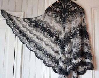 Large Crocheted Shawl - Virus shawl - large lace shawl - colour-changing wrap - spring shawl - summer shawl
