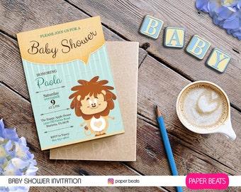 Lion Baby Shower Invitation - BABY SHOWER INVITATION - Printable Party Invitation - Baby Boy - Lion Theme Baby Shower