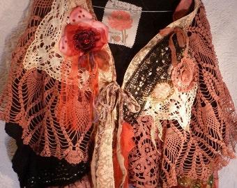 Shabby chic cape / shrug, shawl, scarf, made of hand dyed wool felt hook and noi, wearable art, Unique, boheme, Boho