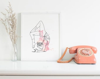Yoga, danse poster pink, home decor