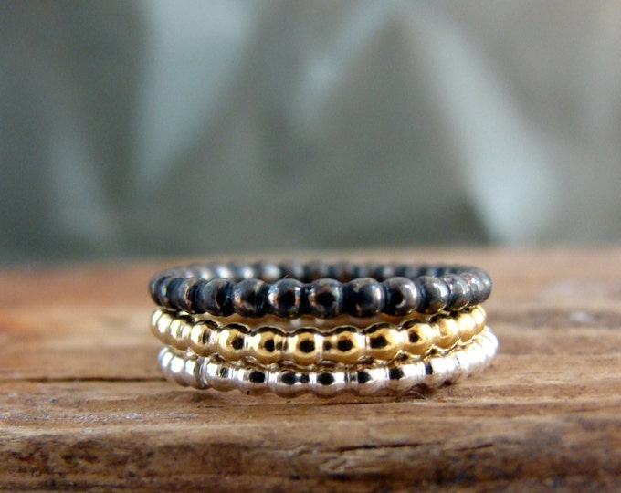 Beaded Stack Rings Set of Three Gold Plated Oxidized Everyday Jewelry Gifts for Her