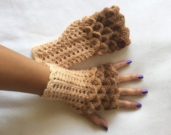 Crochet Fingerless Gloves Crocodile Stitch  in Shades of Brown and Beige