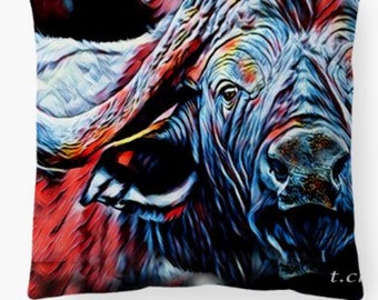 Glowing buffalo decorative pillows